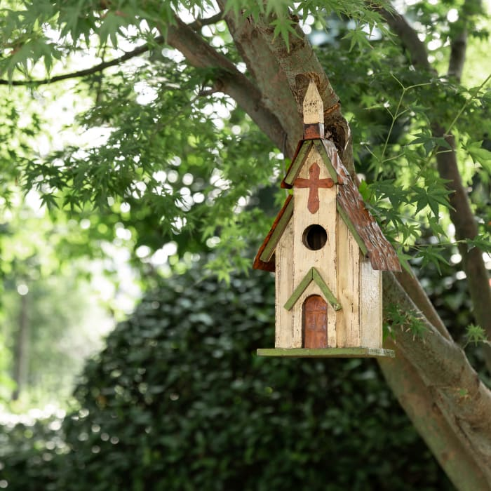 Distressed Solid Wood Church Birdhouse