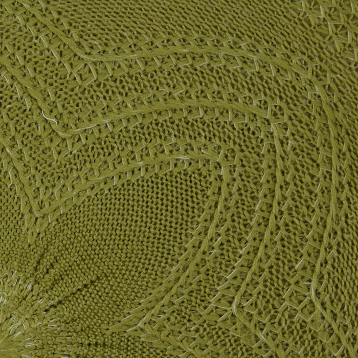 Antique Green Floral Woven Set of 6 Round Placemats