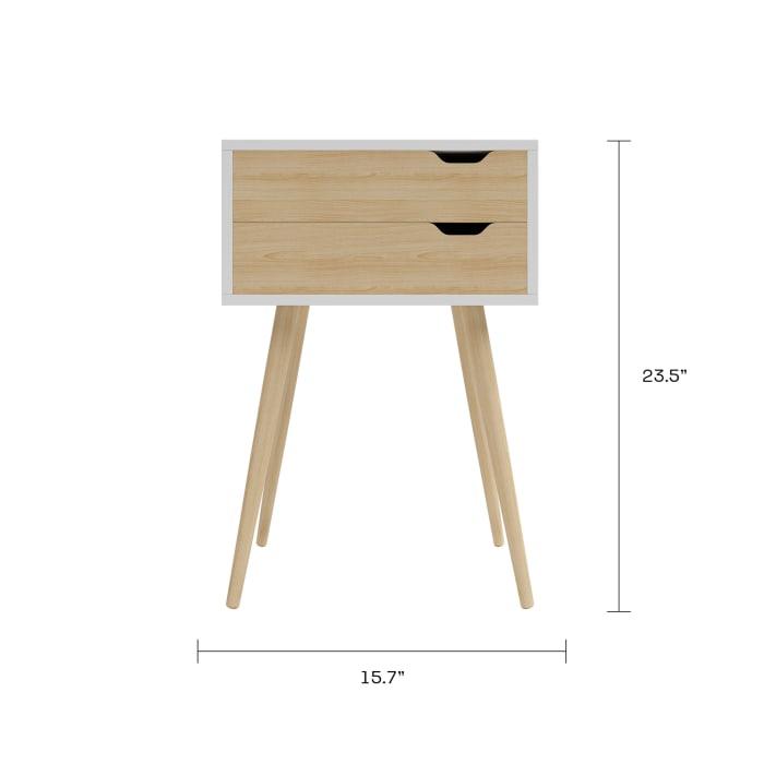 Blake 2 Drawer White Natural Side Table