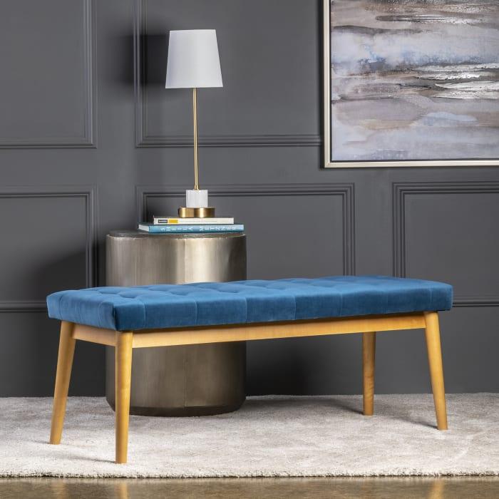 Avery Blue Velvet Upholstered Bench