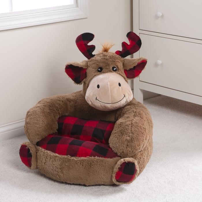 Kids Plush Buffalo Check Moose Character Chair