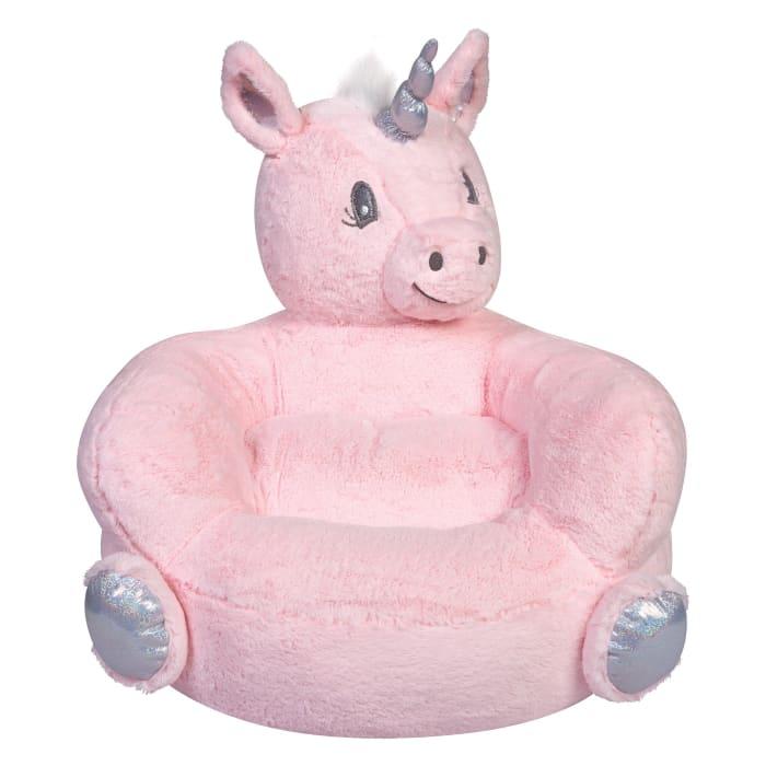 Children's Plush Pink Unicorn Character Chair