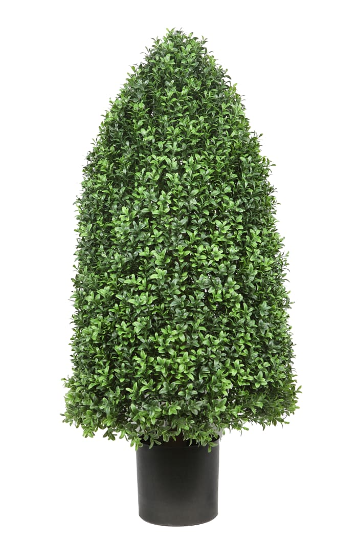 Boxwood Rounded Cone Green Faux Tree