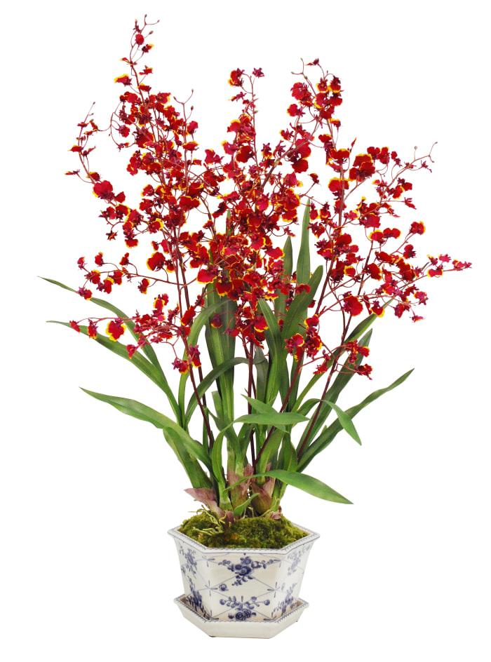 Orchid in Cache Rose Trellis Pot Faux Floral Arrangements