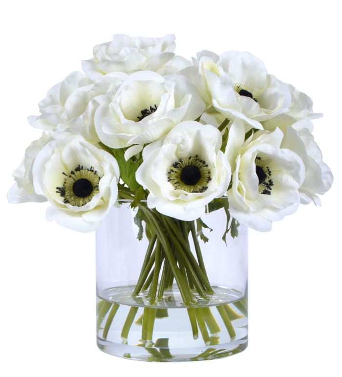 Poppy in Glass Faux Floral Arrangements