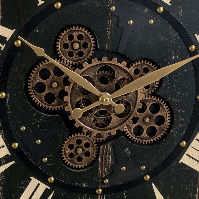 Oversized  Vintage Round Black Gear Clock