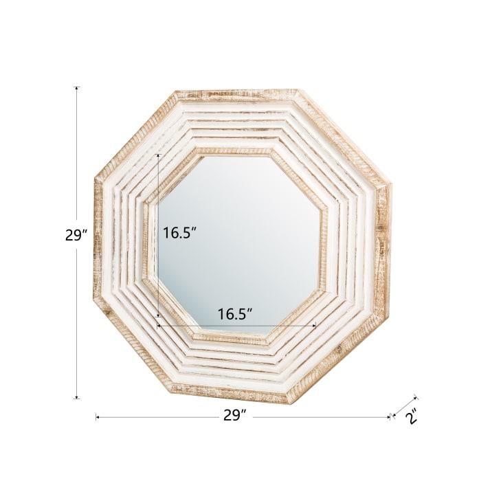 Vintage Octagonal Wooden Wall Mirror