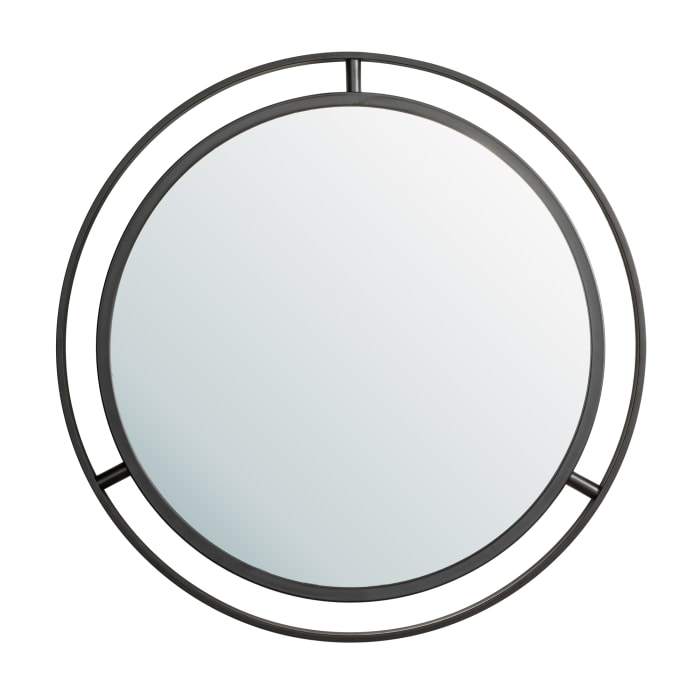 Deluxe Black Metal Round Mirror