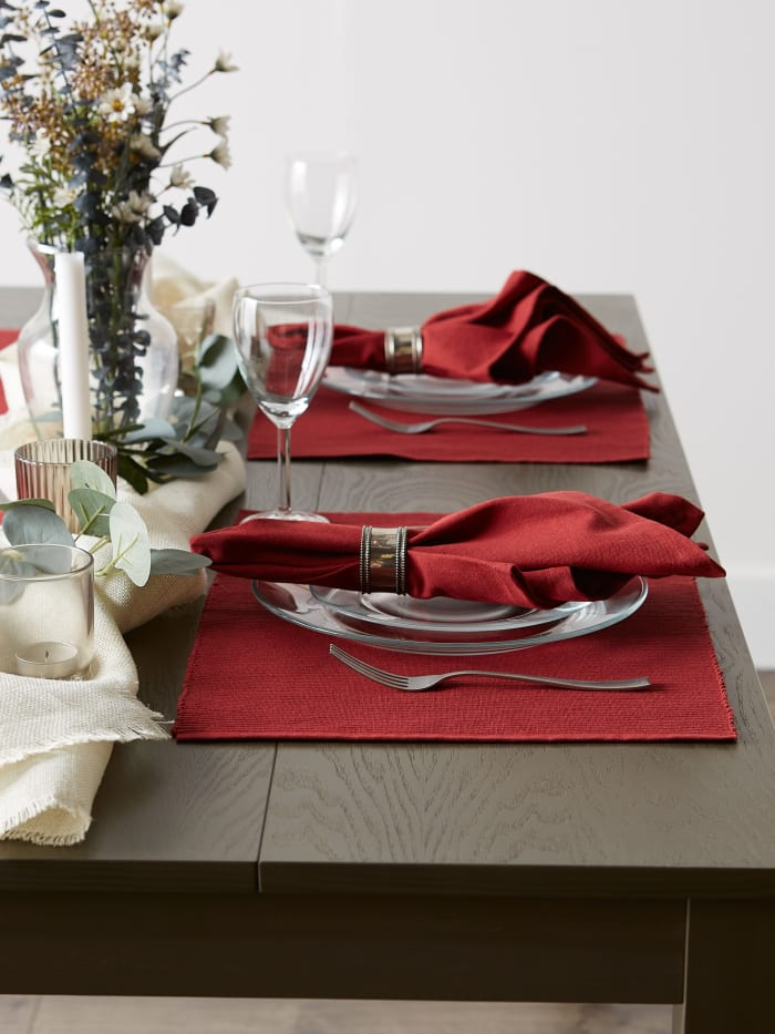 Barn Red Ribbed Set of 6 Placemats