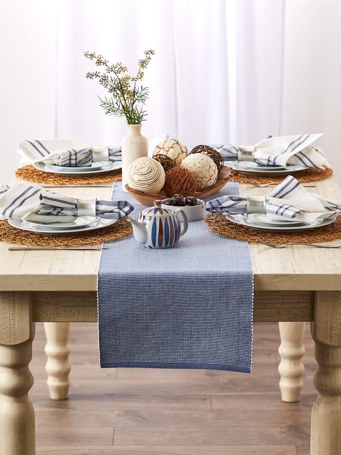 Stonewash Blue & White 2-Tone Ribbed Table Runner