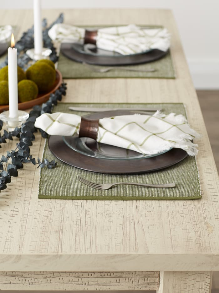 Sage & White 2-Tone Ribbed Set of 6 Placemats
