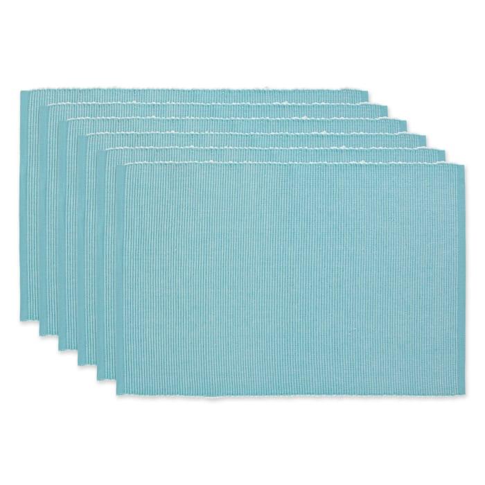 Aqua & White 2-Tone Ribbed Set of 6 Placemats