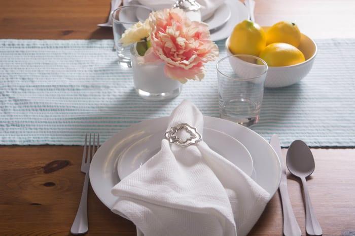 Aqua Set of 2 Table Seersuckers