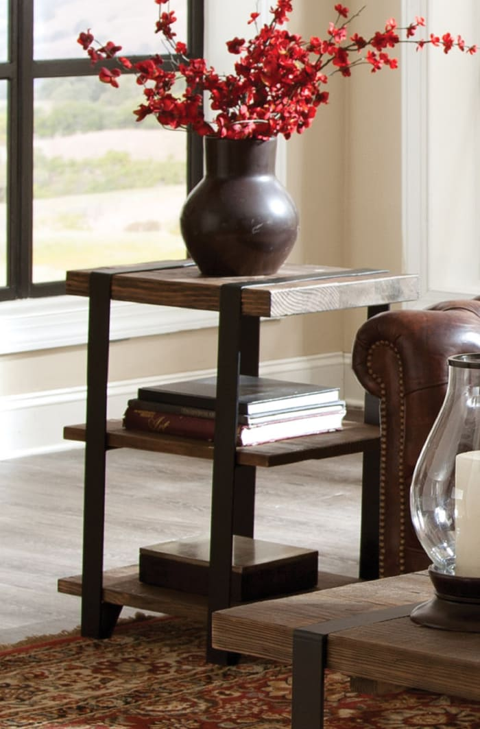 Modesto 2 Shelf Metal Strap and Reclaimed Wood End Table