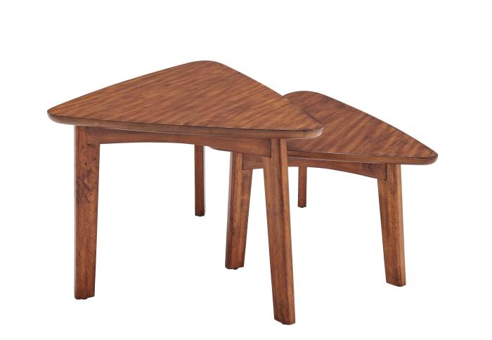 Monterey Triangular Set of Two Mid-Century Modern Nesting Tables, Warm Chestnut