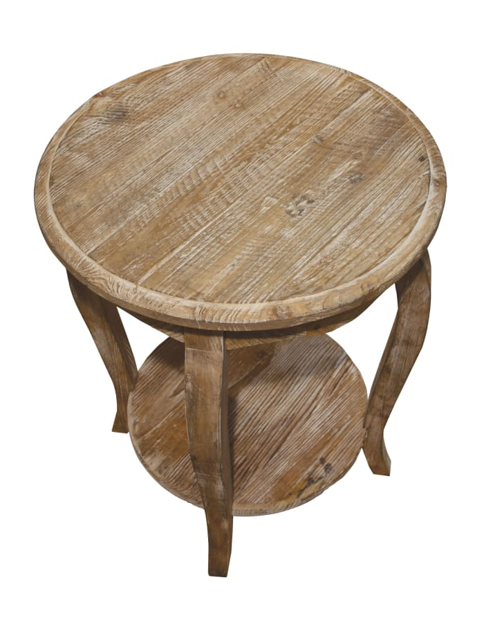 Rustic Reclaimed Round End Table, Driftwood