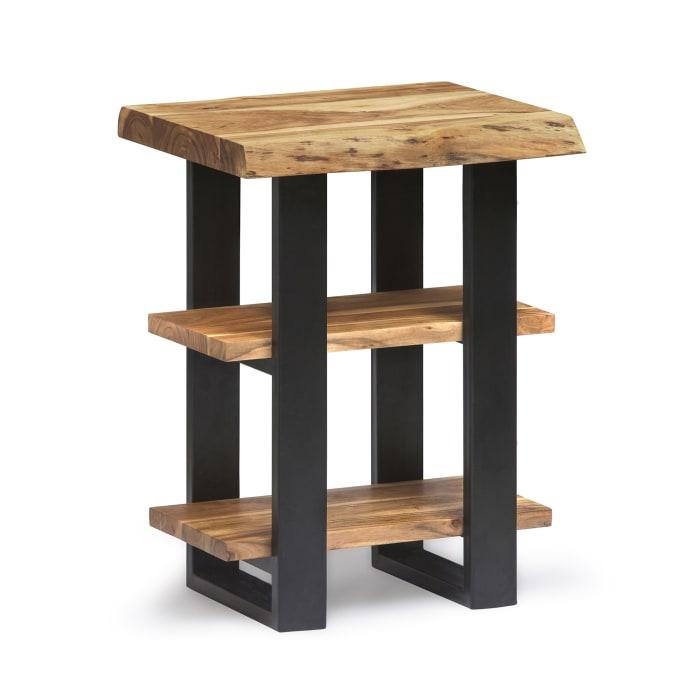 Alpine Natural Live Edge Wood 2 Shelf End Table