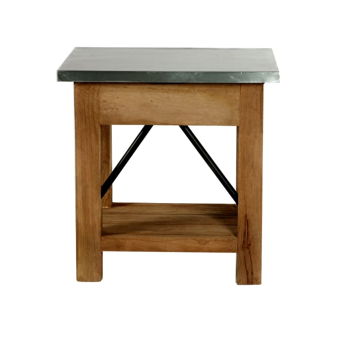Millwork  Wood and Zinc Metal End Table with Drawer