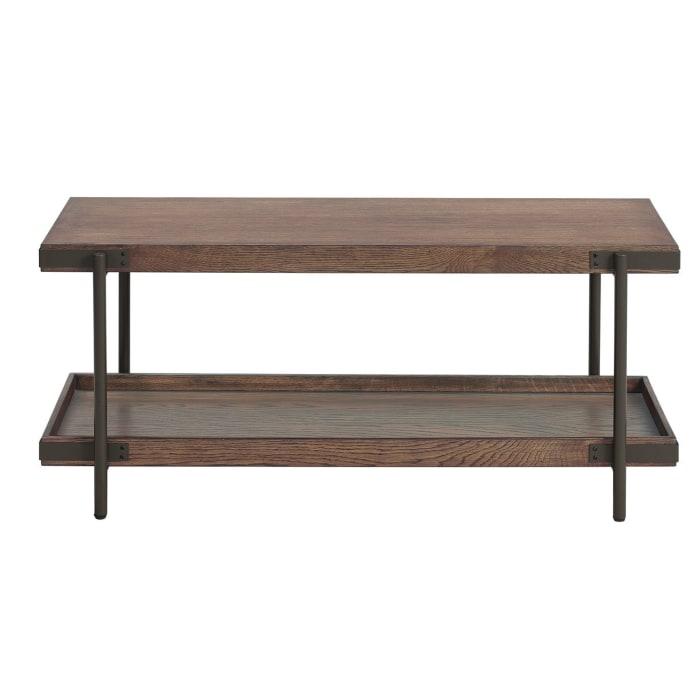 Kyra Oak with Shelf Metal Sofa TV Console Table