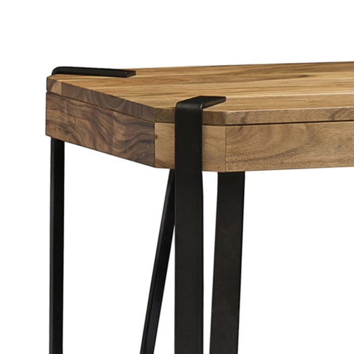 Ryegate Natural Live Edge Solid Wood with Metal Media Console Table