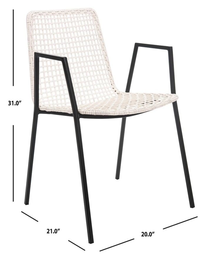 Pranit Leather Woven White  Dining Chair (Set Of 2)