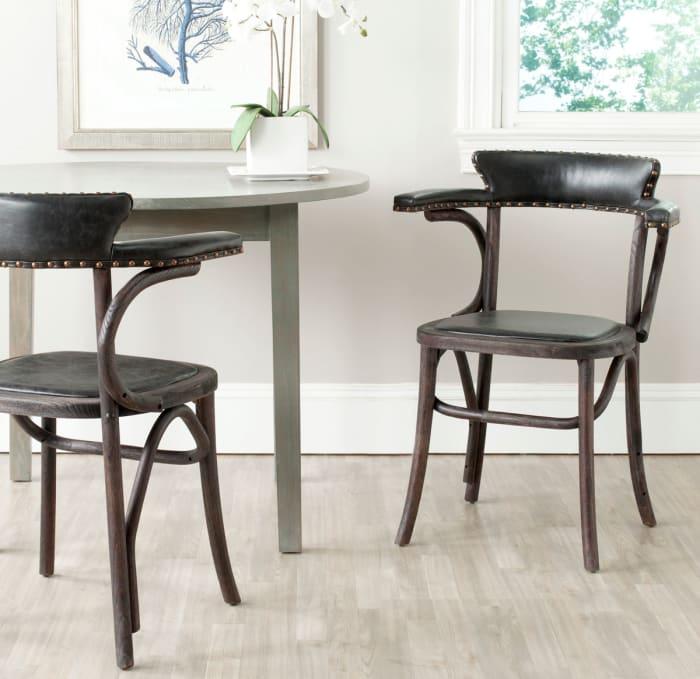 Lotti  Antique Black Arm Chair (Set Of 2)