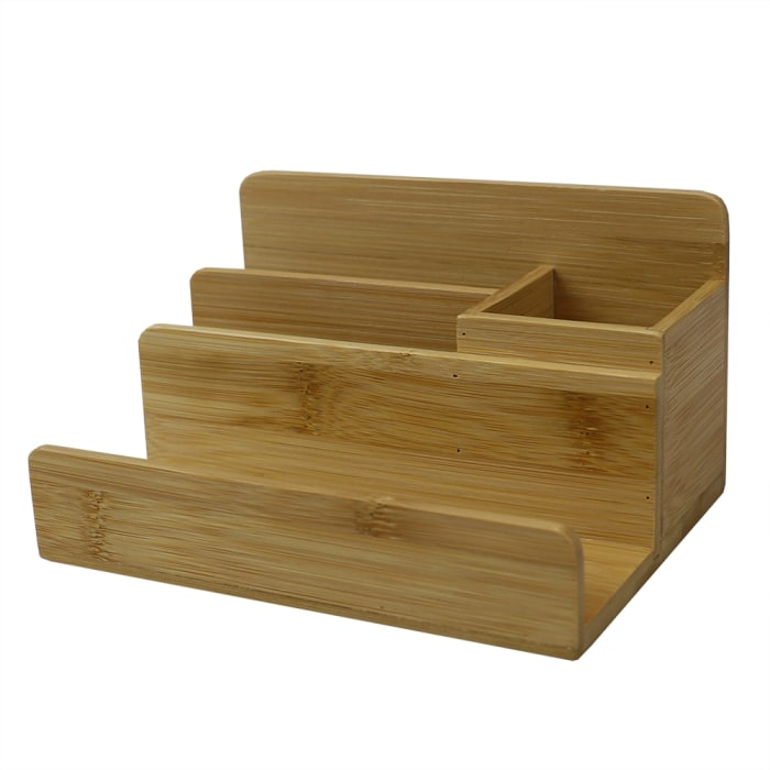 4 Compartment Bamboo Natural Desktop Organizer