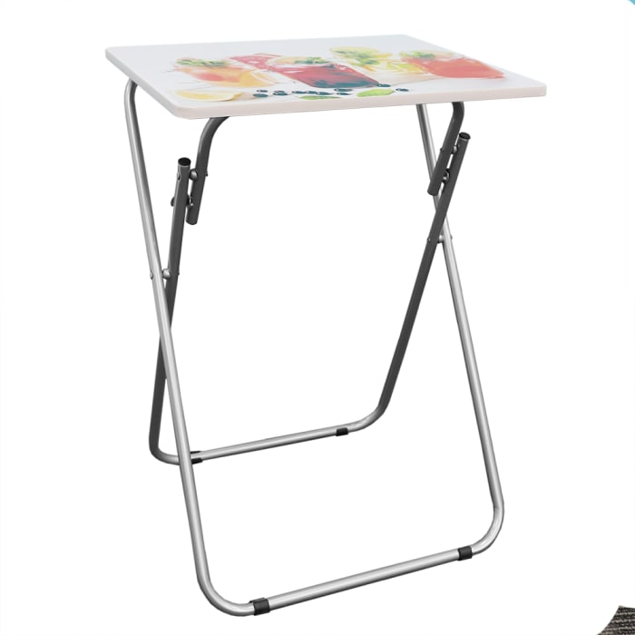 Cocktails Multi-Purpose Foldable White TV Tray Table