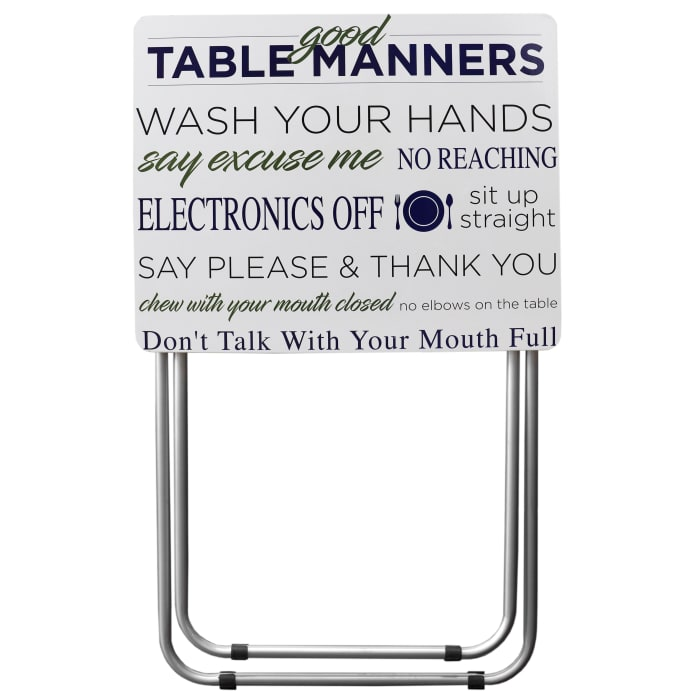 Mind your Manners Multi-Purpose Foldable TV White Tray Table