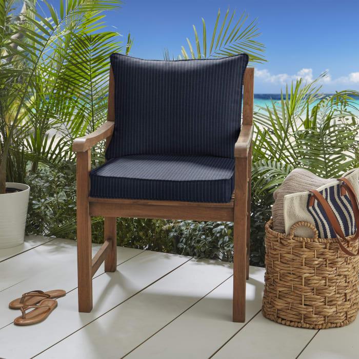 Corded Scale Indigo Sunbrella Outdoor Cushion Set
