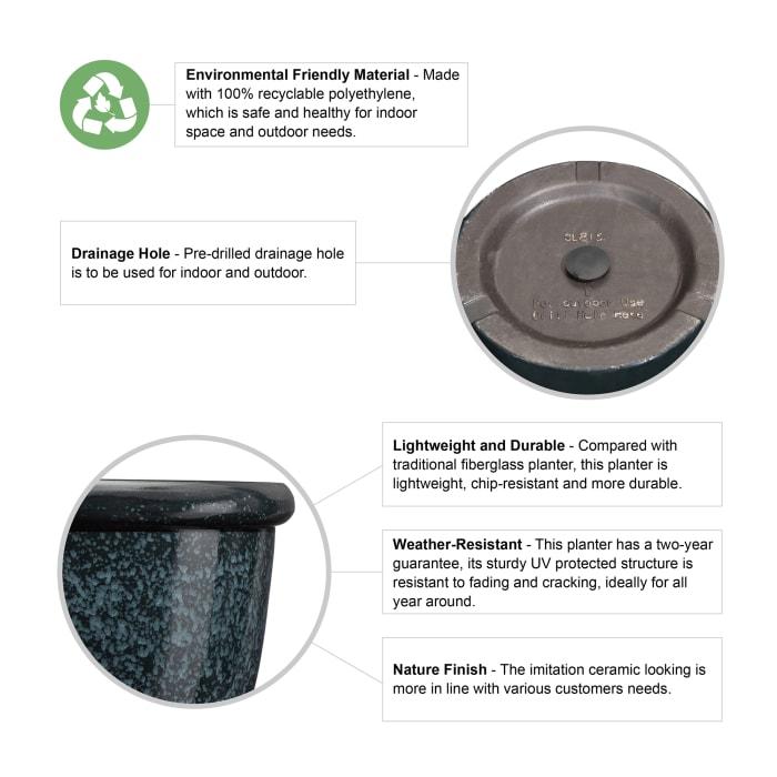 Environmental Oversized Faux Ceramic Round Plastic Pot Planter, Set of 3