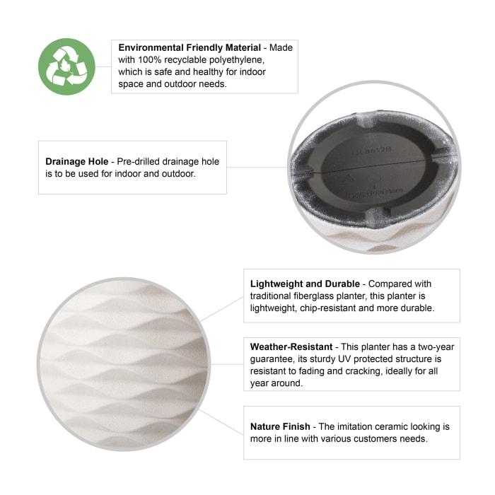 Faux Porcelain Tall Round Polyresin Diamond Planter, Set of 2