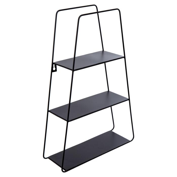 Trapezoid Black Metal Floating Shelf