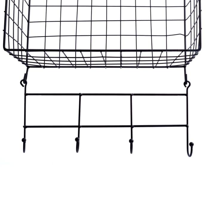 Square Black Wire Metal Set of 2 Floating Shelves