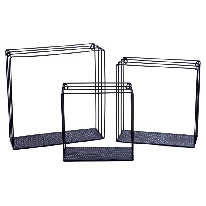 Square Black Metal Set of 3 Floating Shelves