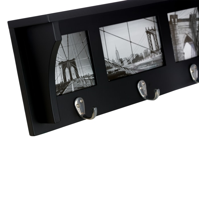 Providence 18.75 inch Black Wooden Wall Shelf and Picture Collage with 3 Hooks