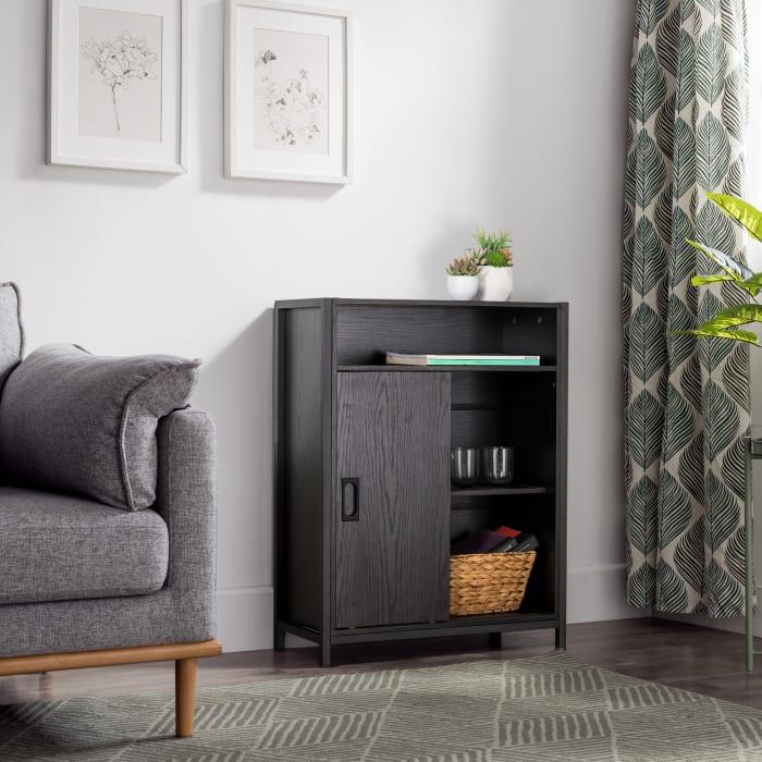 Industry Black 2-Door Floor Cabinet