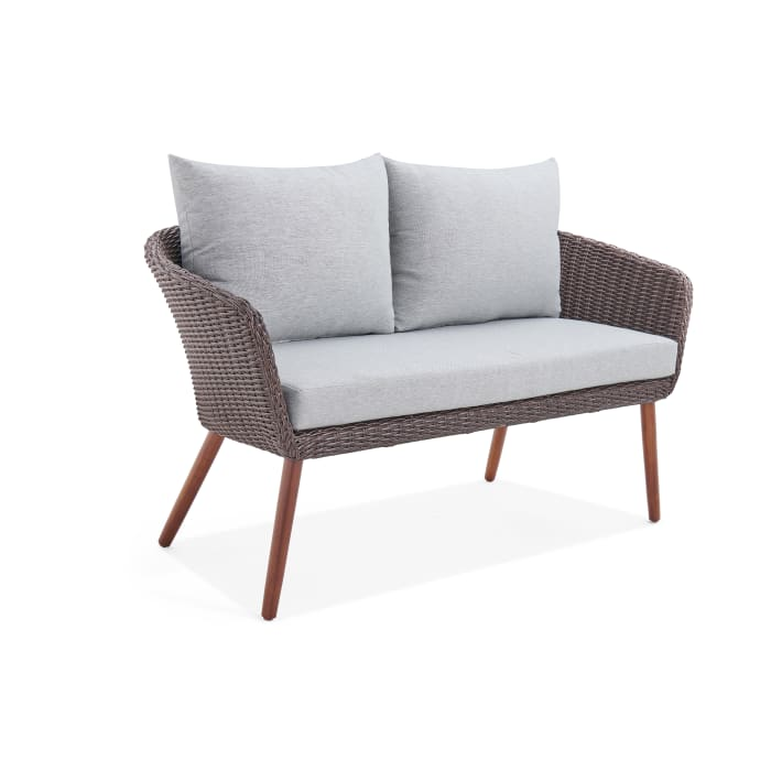 Athens All-Weather Wicker Two-Seat Outdoor Brown Bench with Cushions