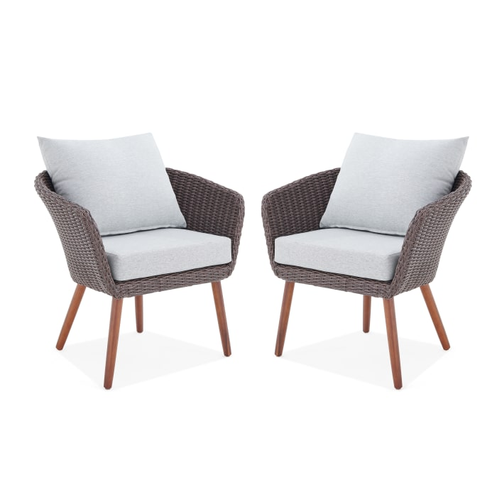 Athens All-Weather Wicker Brown Set of 2 Outdoor Chairs Cushions
