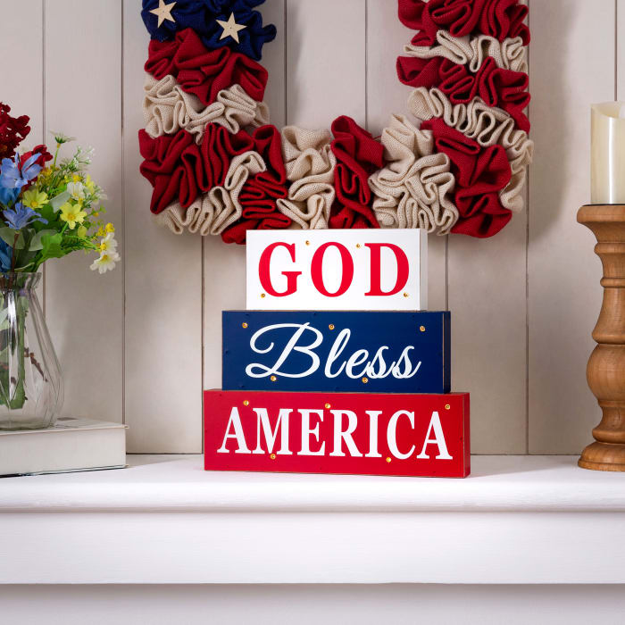 Wooden Patriotic Tiered Block With LED