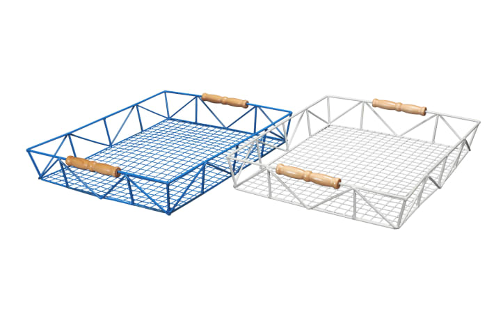 Blue Wire with Carrying Handles Tray