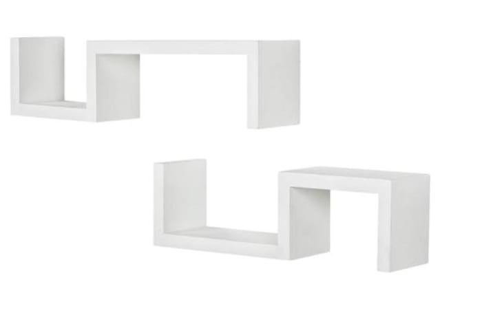 White Wood Set of 2 Floating Shelves