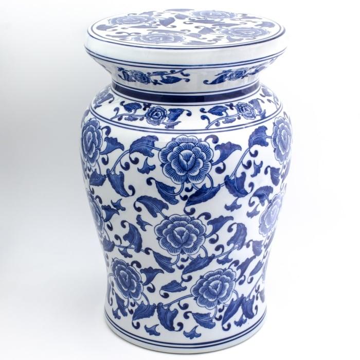 Blue Garden White Cherry Blossom Podium Stool