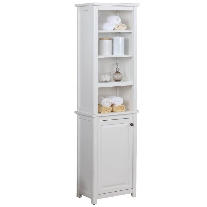 Dorset Bathroom with Open Upper Shelves Storage Tower Cabinet