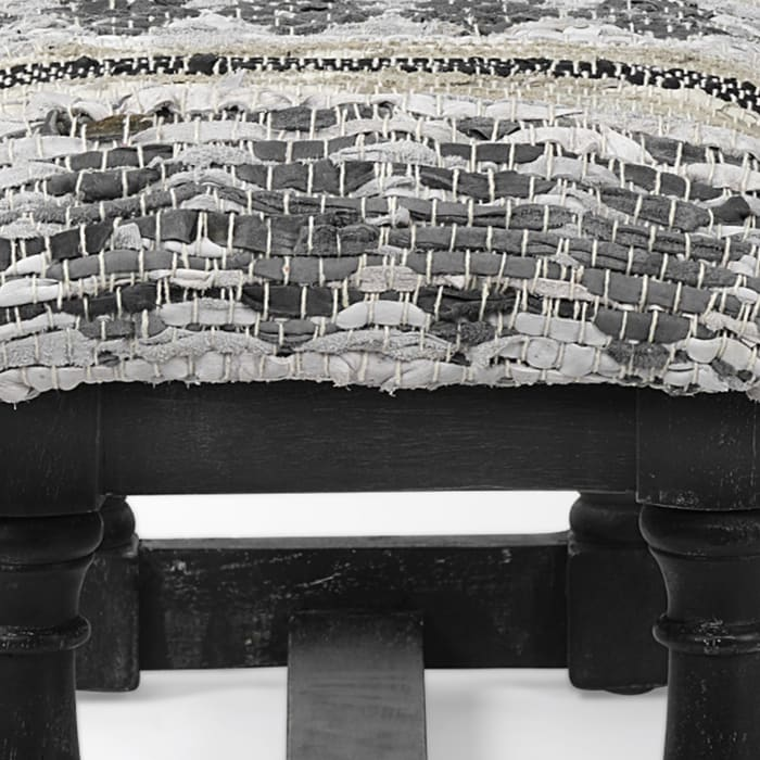 Denison II Black Wood Base Woven Leather Cushion Top Accent Bench