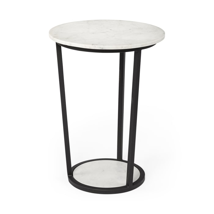 Bombola II  White Marble Top W/Black Metal Frame Round Accent Table