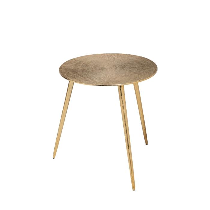 Reva III  Gold Top Cast Aluminum (Small)  Round Accent Table