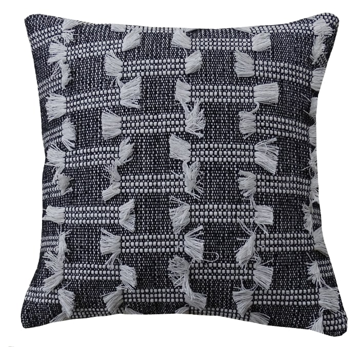 Modern Black Throw Pillow for Couch Handloom Woven