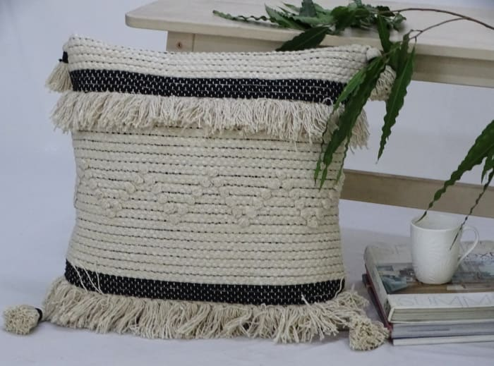 Designer Accent Throw Pillow for Couch Handloom Woven