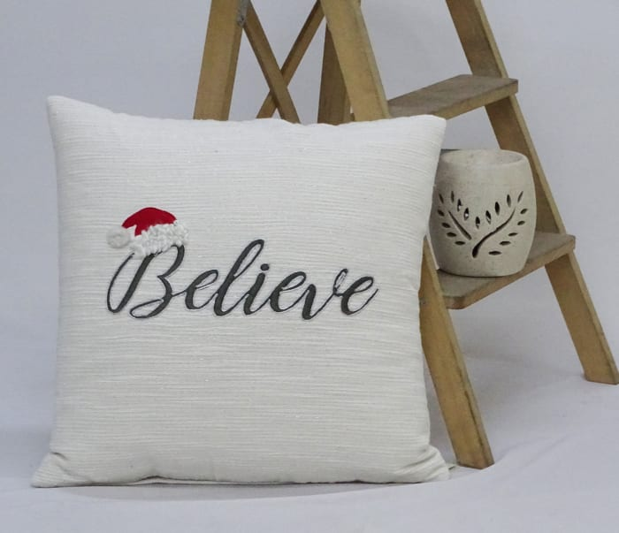 Christmas Throw Pillow with text- Believe